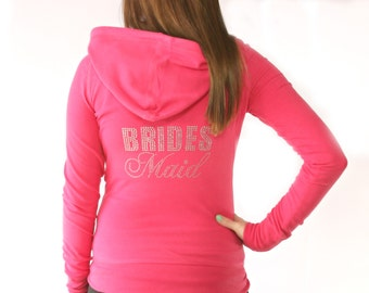 Bridesmaid Mega Bling Rhinestone Hoodie. Bridesmaid Hoodie. Bride Zip Up Hoodie. Bridesmaid. Bridal Party Hoodie. Rhinestone Wedding Hoodie.