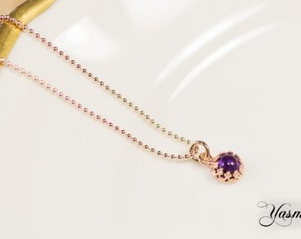Amethyst rose gold plated