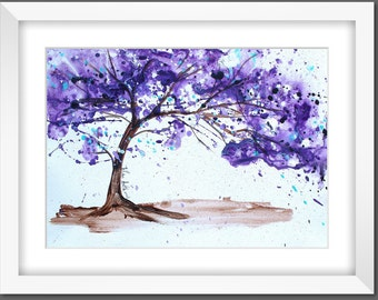 Art Print,  wall art, Printable with  violet, tree, painting,  Modern painting jolina anthony