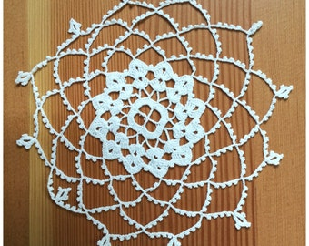 Vintage Crocheted Doily, 1 Off White Crocheted Doily.