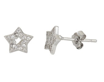 Sparkling Open Star Micro Pave CZ Stud Earrings