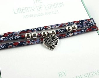 Liberty of London wrapped bracelet, wrap bracelet, floral bracelet, beaded bracelet, charm bracelet, boho look bracelet, gift for teenager