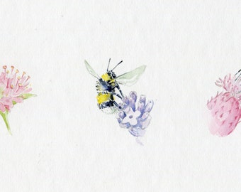 Three Bees Original Watercolour