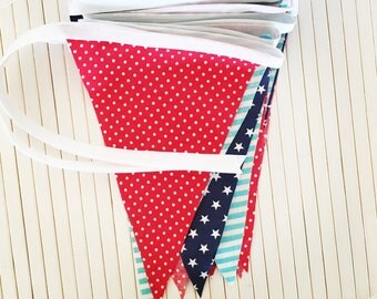 Colourful Stars Fabric Bunting Nursery Decor Flags Garland Kids Room Stripes Polka Dots