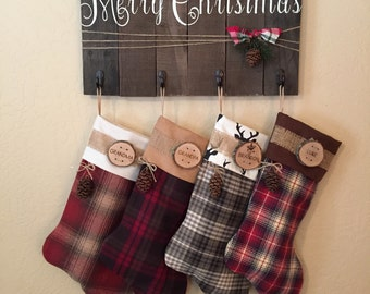 Family Christmas Stocking Personalized Country Christmas Wood Slice Name Tag Rustic Woodland Christmas Plaid Flannel Christmas Stocking