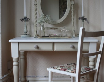 White and Linen Painted Dressing Table with Turned Legs and Double Drawers