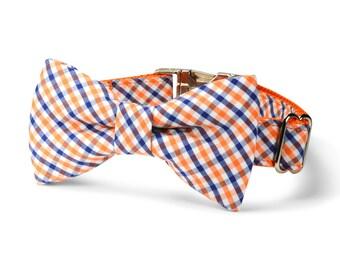 University of Virginia Bow Tie Dog Collar, Orange Navy Gingham Dog Bow Tie Collar, Preppy Dog Collar, Gingham Dog Bow Tie, UVA Dog Collar
