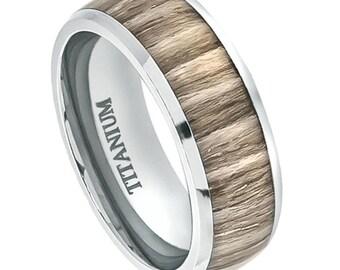 8MM Personalized Titanium Wedding Ring, Custom Engraved Titanium Wedding Ring  with Rosewood Inlay FREE ENGRAVING