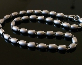 Vintage Necklace Matte Silver Tone Oblong Metal Beads Mid Century Modern Retro Mod 50s 60s 70s