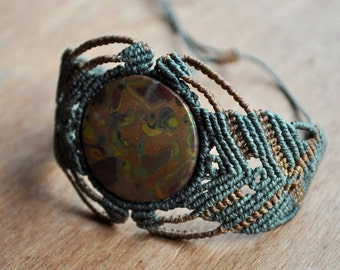 Macramé with Jasper stone bracelet.