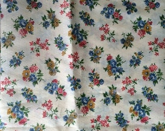 Vintage Blue Pink Yellow Floral Fabric