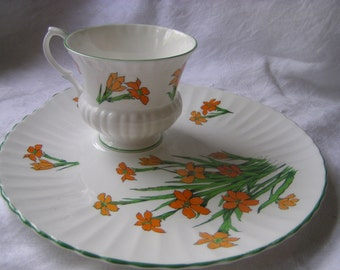 """Crown Staffordshire Teacup and Snack Plate """"Devon"""" Pattern"""