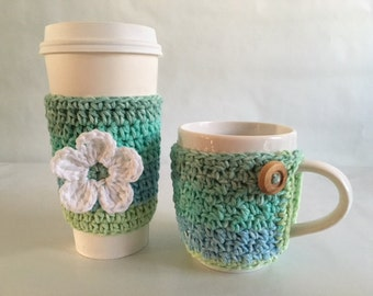 Cup Cozy Set that includes a Coffee Cup Cozy and a Travel Mug Cozy in Ocean Stripes Made to Order