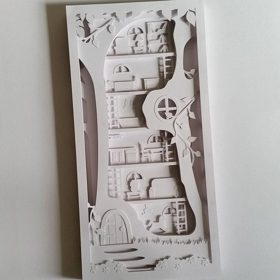 tree house cut your own 3d shadow box layered papercutting template printable pdf with step by. Black Bedroom Furniture Sets. Home Design Ideas