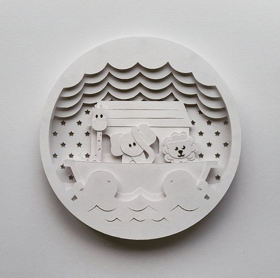 noah 39 s ark layered 3d shadow box papercutting template. Black Bedroom Furniture Sets. Home Design Ideas