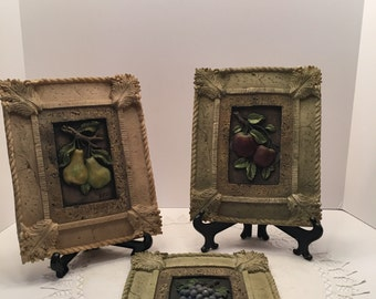 Vintage Wall Plaque~Fruit Plaques~ Grapes Pears Apples ~ Set of Three