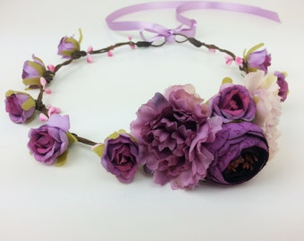 Purple flower crown, flower hair garland, flower hair wreath, flower girl, flower hair piece, festival crown, flower headband
