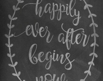 Wedding SVG, Happily Ever After, Begins Now, PNG, DFX, Silhouette, Cameo, Cricut, Wedding Sign, Wedding Gift, Vinyl, Bridal Shower Gift