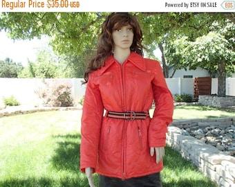 10% off sale ORANGE belted ski jacket mod vintage 70's coat WOMENS medium made in JAPAN