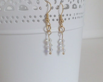 Earrings retro bride - Ashley - Crystal spinning tops of Swarovski - Gold-plated Primers 18 K
