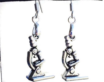 Science Geek Earrings! Silver Microscopes, 925 Sterling Silver Wires, Gifts for Scientists, Biology, Biologists, Gifts for Girls