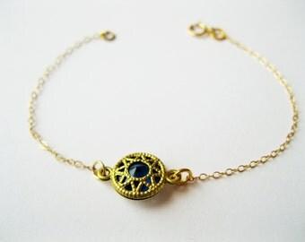 Small sapphire bracelet, blue round bracelet, royal blue bracelet, gold dainty bracelet, cute dainty jewelry