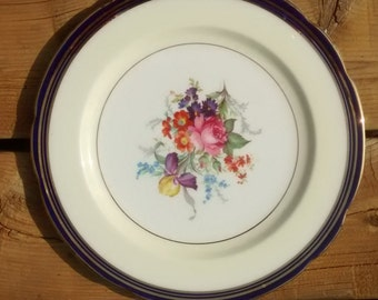 Paragon Cobalt & Gold Floral Dinner Display Plate Bone China Made in England