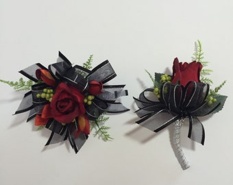 Red And Black Rose And Berries Corsage And Boutonniere Set