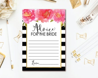Floral Advice for the Bride To Be Card - Black White Stripe Bridal Shower Advice Card - Black Pink and Gold Bridal Advice - INSTANT DOWNLOAD