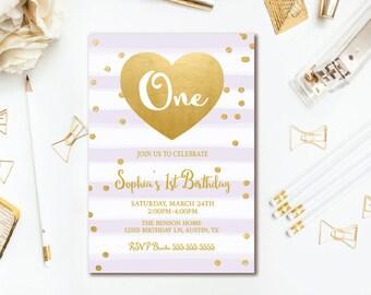 Purple & Gold 1st Birthday Invitation, Confetti Heart Girl Birthday Party, Stripe Printable Invites