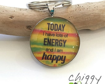 Affirmation Keyring - Today I have energy - yellow/red/green