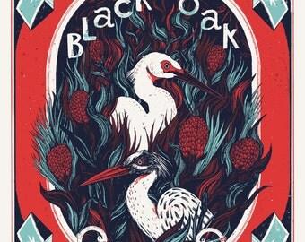 Black Oak screen printed Gig poster // Concert poster // live at Vera Groningen 2016