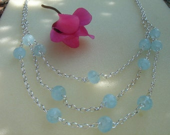 Silver necklace with aquamarine! Fantastically beautiful!