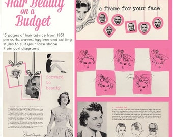 "Digital PDF 1951 beauty booklet ""Hair Beauty on a Budget"