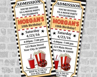 Printed Movie Ticket Birthday Party Invitation, Custom Vintage Style Movie Ticket Party Invites, Movie Ticket Invitations