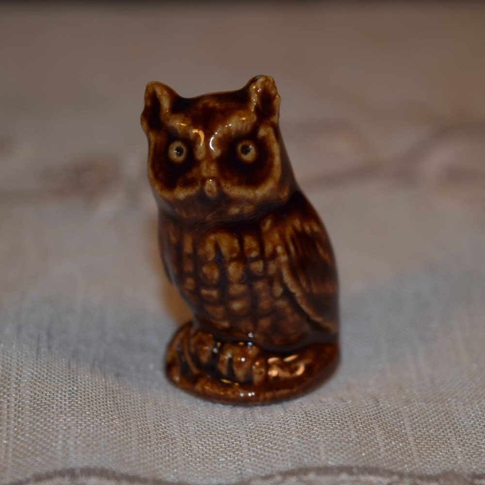 Miniature Wade Owl Figurine Vintage Ceramic Owl Collectible