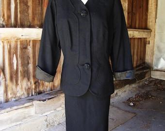 Vintage 1950's Snappy Black Wool Suit by Designer Irene Lentz * Size Small to Medium