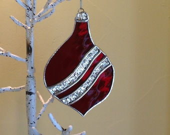 Gorgeous Stained Glass, Christmas Ornament, Handmade, Mirrored Holiday Glass
