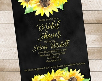 Sunflower Chalkboard Bridal Shower Invitation Printable Autumn Fall
