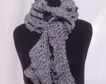 Cozy Ruffle Scarf in Perriwinkle Blue with a hint of Green