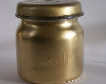 "Golden jar ""Le Meilleur"" Made in France french Mason jar vintage glass jar 15.21 US fl oz"