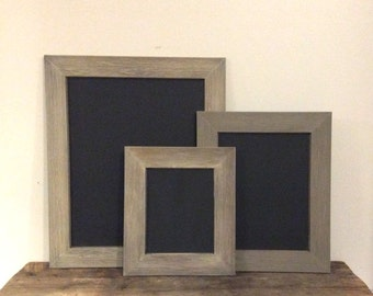 Set of 3 Large Chalkboards    Re-Purposed Frames   Grey   Perfect Chalkboards for Wedding Display