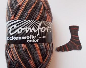sock yarn 100g (6,- Euro/100g), darkbrown + rose, 4ply (1215b.03)