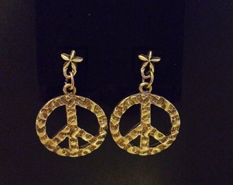 Peace symbol earrings, back to school, peace and star, hippy accessory, made in America, JeriAielloartstore, small business, peace jewelry