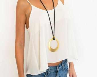 Gold Pendant Necklace, Big Round Pendant, Long Necklace, Statement Necklace, Gold Pendant, Eco Lace Necklace, Big Round Bead, Mother's Gift.