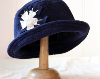 navy blue daisy cloche  fleece homegrown hat