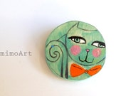 Painted cat brooch, wooden illustrated turquoise cat , orange bow tie , handmade one of a kind