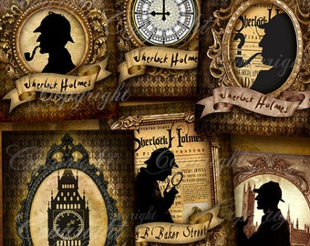 SHERLOCK HOLMES digital collage - Decoupage, Silhouette, Greeting Cards, Scrapbook, Party Printables, Journaling, Digital Images, Download
