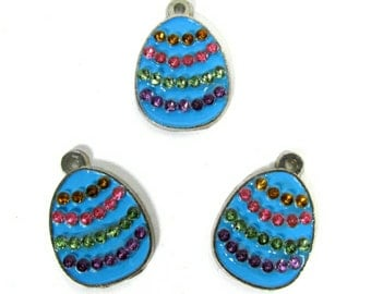 Blue Easter Egg Charms   Easter Charms   Easter Eggs   Multi-Color Rhinestone   Jewelry Charms   Bracelet Charms   Necklace Charms