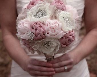 Blush Wedding Bouquet | Brooch Bouquet | Blush Wedding | Fabric Bridal Bouquet | Romantic Wedding | Fabric Flowers | Rustic Elegant Wedding